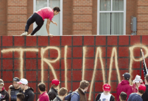 foodieallen:  dboybaker:  So there was a Trump rally at my school a few weeks ago. They erected a 9 foot wall outside our Union Building. In an attempt to devalue their display, I jumped over it. Just found this image of the event.Firstly I'd like to say a wall will not be built. Logistically it simply isn't going to happen. But on a more grave note is what the idea of the wall stands for. It stands to dehumanize a group of people. It represents the fact that there is so much more progress to be made in this country.Tear down Trump's imaginary wall one figurative brick at a time. We can do this.  You're incredible. : TRIIMB  COO foodieallen:  dboybaker:  So there was a Trump rally at my school a few weeks ago. They erected a 9 foot wall outside our Union Building. In an attempt to devalue their display, I jumped over it. Just found this image of the event.Firstly I'd like to say a wall will not be built. Logistically it simply isn't going to happen. But on a more grave note is what the idea of the wall stands for. It stands to dehumanize a group of people. It represents the fact that there is so much more progress to be made in this country.Tear down Trump's imaginary wall one figurative brick at a time. We can do this.  You're incredible.