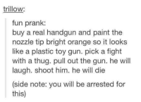 nice: trillow:  fun prank:  buy a real handgun and paint the  nozzle tip bright orange so it looks  like a plastic toy gun. pick a fight  with a thug. pull out the gun. he will  laugh. shoot him. he will die  (side note: you will be arrested for  this) nice