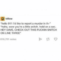 """I hope you have a lovely day:'): trillow  """"hello 911 i'd like to report a murder in th-  """"haha, wow you're a little snitch, hold on a sec.  HEY DAVE, CHECK OUT THIS FUCKIN SNITCH  ONLINE THREE""""  616,701 notes I hope you have a lovely day:')"""