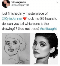 Memes, Wow, and 🤖: trina nguyen  @noodlegurl101  just finished my masterpiece of  @KylieJenner took me 89 hours to  do. can you tell which one is the  drawing?? (i do not trace) Wow, give the artwork a rating