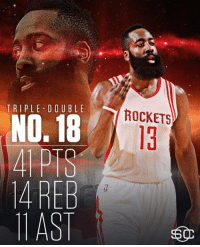 Memes, 🤖, and Asis: TRIPLE DOUBLE  NO.18  4REB  11 ASI  ROCKETS James Harden records his 6th 40-point triple-double this season, the most in a single season in NBA history. (via SportsCenter)