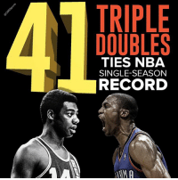 Memes, Nba, and Record: TRIPLE  DOUBLES  TIES NBA  SINGLE SEASON  RECORD You'll be telling your grandchildren about Russ' season one day.