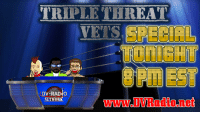 We apologize for last night's show not airing. Tonight we will air it starting at 8 PM EST (2000) and run it until midnight back-to-back!  Triple Threat Vets is about Survivor Series, The Shield, AJ Styles, and much more!!: TRIPLE THREAT  VETS  X:  Xt  X:  X:  DV-RAD  www.DVRadio.net We apologize for last night's show not airing. Tonight we will air it starting at 8 PM EST (2000) and run it until midnight back-to-back!  Triple Threat Vets is about Survivor Series, The Shield, AJ Styles, and much more!!