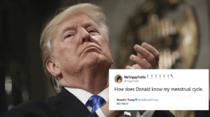 Donald Trump's cryptic tweets spark meme fest on Twitter | Trending ...: TrippyTrellis  How does Donald know my menstrual cycle.  Donald J. TrumprealDonaldTrump  RED WAVE Donald Trump's cryptic tweets spark meme fest on Twitter | Trending ...