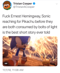 Gif, Pikachu, and Best: Tristan Cooper  @TristanACooper  Fuck Ernest Hemingway, Sonic  reaching for Pikachu before they  are both consumed by bolts of light  is the best short story ever told  GIF  11/1/18, 11:08 AM CHUUUUUUUUUUUU