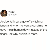 Funny, Tea, and Down: Tristan  @Tea_ris  Accidentally cut a guy off switching  lanes and when he went around me he  gave me a thumbs down instead of the  finger.. Idk why but it hurt more The judgment is palpable☹️👎🏻 TwitterCreds: tea_ris