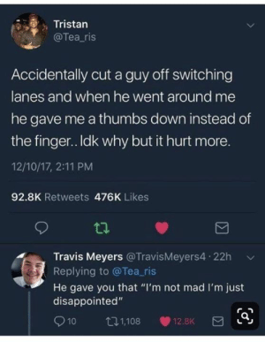 "Dank, Disappointed, and Mad: Tristan  @Tea_ris  Accidentally cut a guy off switching  lanes and when he went around me  he gave me a thumbs down instead of  the finger.. Idk why but it hurt more.  12/10/17, 2:11 PM  92.8K Retweets 476K Likes  Travis Meyers @TravisMeyers4 22h  Replying to @Tea_ris  He gave you that ""I'm not mad I'm just  disappointed""  10  t1,108  12.8K"