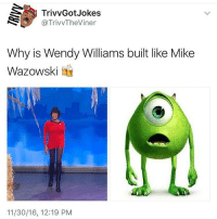 @trivvgotjokes childish ☠️: TrivvGot Jokes  @TrivvTheViner  Why is Wendy Williams built like Mike  Wazowski  11/30/16, 12:19 PM @trivvgotjokes childish ☠️