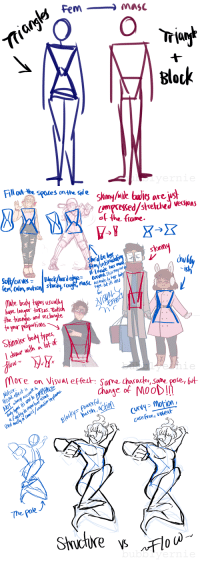 "bubblyernie:  Some notes made about how I PERSONALLY draw male and female bodies. These are EXTREMELY versatile, and can be altered to fit characters individually, but this is how I use the frame, then body type, then ""visual effects"" to convey mood and feeling through a character's poseart tag // commission info: Trla  Block   Fill at-he spotes onthe sde  lo are u  of the fame  he'd bele  sknny  ntia  Arved.This may noh  sh  male body typesusu小  have lono torsas. Rati  he tione and teclonyle  Sknie b  2  0   more  on Visual effe  : Same cha( ader, sane ose, but  Motion  The pole bubblyernie:  Some notes made about how I PERSONALLY draw male and female bodies. These are EXTREMELY versatile, and can be altered to fit characters individually, but this is how I use the frame, then body type, then ""visual effects"" to convey mood and feeling through a character's poseart tag // commission info"