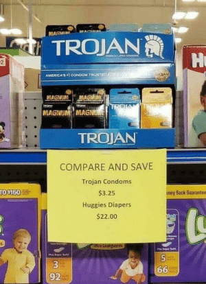 "Condom, Back, and Trojan: TROJAN  R ok  AMERICAS ""İ CONDOM TRUSTe,  MAGNUM MAGNUNM  MAGNUM MAGNU  TROJAN  COMPARE AND SAVE  Trojan Condoms  $3.25  Huggies Diapers  $22.00  oney Back Guarantee  5  66.  3  92 Choose wisely"