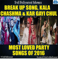 Agree?: Troll Bollywood Memes  TB  BREAKUP SONG, KALA  CHASHMA & KAR GAWI CHUL  MOST LOVED PARTY  SONGS OF 2016  Troll Bollywood  fb.com/officialtrollbollywood Agree?