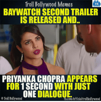 Blink and miss appearance again! 😂: Troll Bollywood Memes  TB  IS RELEASED AND.  PRIYANKA CHOPRA  APPEARS  FOR 1 SECOND  WITH JUST  ONE  SCOMwofficialtrollbollywood  O Troll Bollywood Blink and miss appearance again! 😂