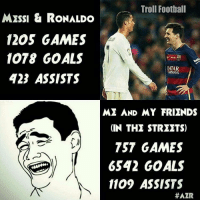 Memes, Qatar, and 🤖: Troll Football  MESSI & RONALDO  1205 GAMES  1078 GOALS  QATAR  WURWAYS  423 ASSISTS  ME AND MY FRIENDS  IN THE STREETS)  TST GAMES  6542 GOALS  1109 ASSISTS  HAZR True 😂😂 Tag your partner 😂