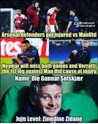 Football, Memes, and Neymar: Troll Football  OTheFootballTroll  Arsenaldefenders gotinjured vs ManUtd  Neymar will imiss both games and Verrati  the 1stleg against Man Utd cause of injiur  Name: Ole GunnarSolskjær  Juju Level: Zinedine Zidane 😱😱