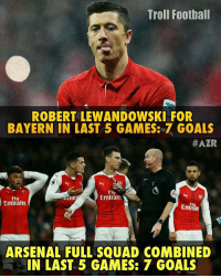 Robert Lewandowski's Next Target is Arsenal! 🔥 Follow @instatroll.soccer: Troll Football  ROBERT LEWANDOWSKI FOR  BAYERN IN LAST 5 GAMES: GOALS  #AZR  Fly  Emirate  Emirates  ARSENAL FULL SQUAD COMBINED  IN LAST 5 GAMES: 7 GOALS Robert Lewandowski's Next Target is Arsenal! 🔥 Follow @instatroll.soccer