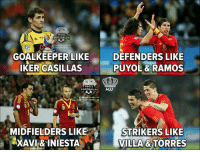 Football, Memes, and Troll: TROLL  FOOTBALL  roroornait.HD  GOALKEEPER LIKE  KER CASILLAS  DEFENDERS LIKE  PUYOL & RAMOS  TROLL  FOOTBALL  鶞«mou roornALL.HD  MIDFIELDERS LIKE  STRIKERS LIKE  VILLA &TORRES Spain glory days 👏😍⚽️