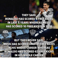 Football, Memes, and Troll: TROLL  FOOTBALL  THEY SAID:  RONALDO HAS SCORED 4 FREE KICKS  N LAST 5YEARS WHEREASMESS  HAS SCORED 10 FREE KICKS IN 2018  ROLLFOOTBALE HD  回9TROLLFOOTB D  STADIUM  TROLL  FOOTBALL  MJJ  /TROLLFOOTBALL.HD  回@TROLLFOOTBALL.HD  BUT THEY NEVER SAID:  MESSI HAS SCORED ONLY 41 FREE KICKS  NHIS WHOLE CAREER WHEREAS  RONALDO HAS SCORED 63 FREE KICKS  IN HIS WHOLE CAREER  ONALDO Ronaldo 🎯🥅