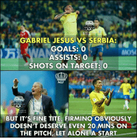 """Football, Goals, and Jesus: TROLL  FOOTBALL  TROLL  GABRIEL JESUS VS SERBIA  GOALS: O """" )  MOS  ASSISTS:O  SHOTS ON TARGET: 0  MJJ  TROLL  FOOTBALL  /TR  TBALL.HD  BUT IT'S FINE TITE, FIRMINO OBVIOUSLY  DOESN'T DESERVE EVEN 20 MINS ON  THE PITCH LET ALOE A START Firmino Really Deserves Playing Time.. https://t.co/bzYsL3clNn"""