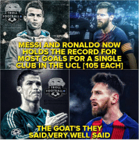 Club, Football, and Goals: TROLL  FOOTBALLO  MESSI AND RONALDO NOW  HOLDS THE RECORD FOR  MOST GOALS FOR A SINGLE  CLUB IN THE UCL M05 EACH  TROLL  FOOTBALL  THE  SAIDVERY WELL SAID  GOAT'S THEY  ( Legends ❤️ https://t.co/LlyeZCjqzd