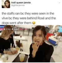 IM CRYING . . . . Credit to owner✌: troll queen jennie  @glitterijennie  the staffs ran bc they were seen in the  vlive bo they were behind Rosé and the  dogs went after them  LIVE 37,560 27,461 IM CRYING . . . . Credit to owner✌