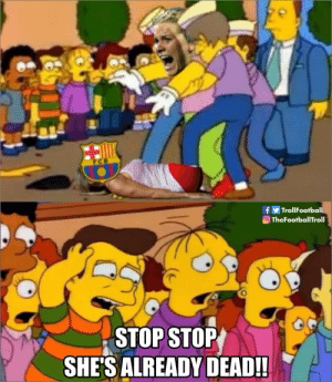 Barcelona, Memes, and Champions League: TrollFootball  OTheFootballTroll  STOP STOP  SHE'S ALREADY DEAD!! Live scenes from the women's Champions League final as Ada Hegerberg scores a 15 min hattrick against Barcelona for Lyon https://t.co/eUYP5Z9qau