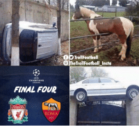 Memes, Liverpool F.C., and Champions League: TrollFootball  The TrollFootball Insta  CHAMPIONS  LEAGUE,  FINAL FOUR  LIVERPOOL  ROMA  1927 Do you ever look at stuff and wonder how it got there? https://t.co/ihaTFI0ZhN