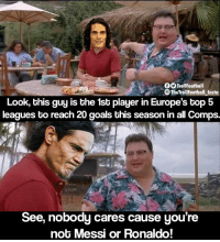 Goals, Memes, and Messi: TrollFootball  The TrollFootball _Insto  Look, this guy is the 1st player in Europe's top 5  leagues to reach 20 goals this season in all Comps.  See, nobody cares cause you're  not Messi or Ronaldo! Cavani 😔 https://t.co/6Awok4vlje
