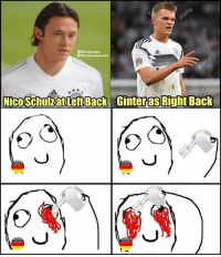 Memes, Germany, and Back: TrollFootball  TheTrollFootball_Insta  Nico Schulz at Left Back  Ginter as Right Back Germany fans when they see their fullbacks https://t.co/2i3j6tenI2