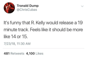 19's the new 15: Tronald Dump  @ChrisCubas  It's funny that R. Kelly would release a 19  minute track. Feels like it should be more  like 14 or 15.  7/23/18, 11:30 AM  481 Retweets 4,100 Likes 19's the new 15