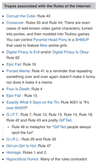 """Anime, Fail, and Funny: Tropes associated with the Rules of the Internet:  Corrupt the Cutie: Rule 43  Crossover: Rules 50 and Rule 44; There are even  cases of well-known video game characters, turned  into ponies, and then modded into louhou games  You can control Pyramid Head Pony in a SHMUP  that used to feature Moe anime girls  Digital Piracy Is Evil and/or Digital Piracy Is Okay:  Rule 62  Epic Fail: Rule 16  . Forced Meme: Rule 41 is a reminder that repeating  something over and over again doesn't make it funny  nor does it make it a meme  . Four ls Death: Rule 4  . Epic Fail - Rule 15  . Exactly What It Says on the Tin: Rule 9001 is """"It's  over 9000!!!""""  · GIFT. Rule 7, Rule 12, Rule 13, Rule 14, Rule 18.  Rule 42 and Rule 43 are pretty GIFTed  o Rule 48 is metaphor for """"GIFTed people always  spoil the fun""""  . G.l.RL: Rule 29 and Rule 30  . Girl-on-Girl Is Hot: Rule 47  Homage: Rules 1 and 2  . Hypocritical Humor: Many of the rules contradict"""