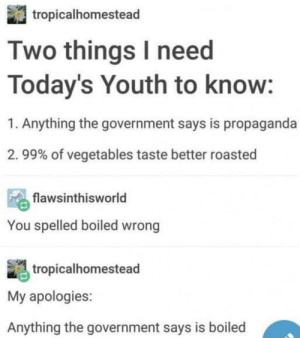 Tumblr, Information, and Propaganda: tropicalhomestead  Two things I need  Today's Youth to know:  1. Anything the government says is propaganda  . 99% of vegetables taste better roasted  flawsinthisworld  You spelled boiled wrong  tropicalhomestead  My apologies:  Anything the government says is boiled On important information: 17 Really Excellent Tumblr Posts I Came Across This Week