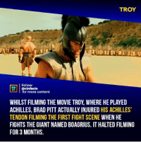 Brad Pitt, Facts, and Memes: TROY  Follow  NEA  @cinfacts  for more content  WHILST FILMING THE MOVIE TROY, WHERE HE PLAYED  ACHILLES, BRAD PITT ACTUALLY INJURED HIS ACHILLES  TENDON FILMING THE FIRST FIGHT SCENE WHEN HE  FIGHTS THE GIANT NAMED BOAGRIUS. IT HALTED FILMING  FOR 3 MONTHS. This movie is awesome! Hurting yourself making such a wicked awesome opening was totally worth it. One reluctant warrior refusing his king with one spear winning a battle in 20 seconds. I watch this movie anytime it's on and then some! Your thoughts?⠀ -⠀⠀ Follow @cinfacts for more facts
