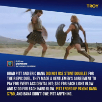 Anaconda, Brad Pitt, and Facts: TROY  Follow  NEALA  @cinfacts  for more content  BRAD PITT AND ERIC BANA DID NOT USE STUNT DOUBLES FOR  THEIR EPIC DUEL. THEY MADE A GENTLEMEN'S AGREEMENT TO  PAY FOR EVERY ACCIDENTAL HIT; $50 FOR EACH LIGHT BLOW  AND $100 FOR EACH HARD BLOW. PITT ENDED UP PAYING BANA  $750, AND BANA DIDN'T OWE PITT ANYTHING. No CGI, minimal music. Just amazing camera work, incredible fight choreography, and two incredible actors. Out of everybody that fought Achilles Hector lasted the longest everyone else only lasted a few seconds. Both men knew it was only a matter of time till Achilles would win, but I love that Hector didn't lay down for him. Your thoughts?⠀ -⠀⠀ Follow @cinfacts for more facts