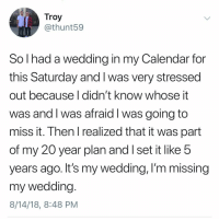 Memes, Calendar, and Wedding: Troy  @thunt59  So I had a wedding in my Calendar for  this Saturday and I was very stressed  out because | didn't know whose it  was and I was afraid I was going to  miss it. Then I realized that it was part  of my 20 year plan and I set it like 5  years ago. It's my wedding, l'm missing  my wedding  8/14/18, 8:48 PM This is the saddest thing I've heard this hour