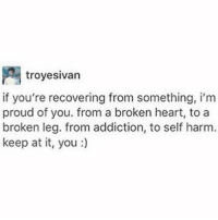 Proud Of You: troyesivan  if you're recovering from something, i'm  proud of you. from a broken heart, to a  broken leg. from addiction, to self harm  keep at it, you