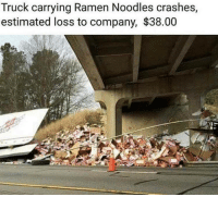 "Memes, Ramen, and Http: Truck carrying Ramen Noodles crashes,  estimated loss to company, $38.00 <p>A sad day for students all over the world via /r/memes <a href=""http://ift.tt/2hCa69Q"">http://ift.tt/2hCa69Q</a></p>"