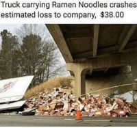 Memes, Ramen, and How: Truck carrying Ramen Noodles crashes  estimated loss to company, $38.00 How will the company ever recover?! via /r/memes https://ift.tt/2KS1vO0