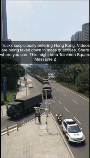 slothes-and-gays: https://www.google.com/amp/s/amp.businessinsider.com/videos-chinese-military-vehicles-gather-in-shenzen-hong-kong-protests-2019-8  Videos show a massive procession of Chinese military vehicles gathering along the Hong Kong border as China mulls over its next move in resp : Trucks suspiciously entering Hong Kong. Videos  are being taken down in mass quantities. Share  where you can. This might be a Teinimen Square  Massacre 2  MOCE slothes-and-gays: https://www.google.com/amp/s/amp.businessinsider.com/videos-chinese-military-vehicles-gather-in-shenzen-hong-kong-protests-2019-8  Videos show a massive procession of Chinese military vehicles gathering along the Hong Kong border as China mulls over its next move in resp
