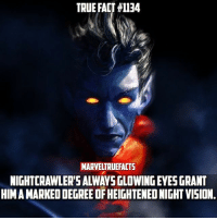 Who's your favorite X-Men? 🤔 --- Artwork by JohnAslarona: TRUE FACT #1134  MARVELTRUEFACTS  NIGHTCRAWLER'S ALWAYS GLOWING EYES GRANT  HIM A MARKED DEGREE OF HEIGHTENED NIGHT VISION Who's your favorite X-Men? 🤔 --- Artwork by JohnAslarona