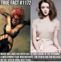 Memes, True, and X-Men: TRUE FACT #1172  MAISIE WILLIAMS HAS BEEN CAST AS WOLFSBANE IN THE UPCOMING  X-MEN SPINOFF FILM 'NEWMUTANTS. THE FILMIS DUE FOR RELEASE  ON THE 18TH OF APRILNEXT YEAR It will also star Anya Taylor-Joy as Magik 😄 gameofthrones gameofthronesfamily asoiaf asongoficeandfire maisiewilliams aryastark wolfsbane xmen newmutants tv follow