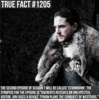 "Memes, True, and Asoiaf: TRUE FACT #1205  THE SECOND EPISODE OF SEASON 7 WILL BE CALLED 'STORMBORN', THE  SYNOPSIS FOR THE EPISODE IS ""DAENERYS RECEIVES AN UNEXPECTED  VISITOR. JON FACES A REVOLT. TYRION PLANS THE CONQUEST OF WESTEROS."" gameofthrones gameofthronesfamily asoiaf asongoficeandfire daenerystargaryen jonsnow cerseilannister jaimelannister tyrionlannister sansastark aryastark tv follow"