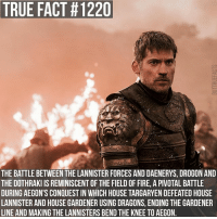 gameofthrones gameofthronesfamily asoiaf asongoficeandfire jaimelannister nikolajcosterwaldau bronn jeromeflynn daenerystargaryen emiliaclarke fieldoffire tvfollow: TRUE FACT #1220  THE BATTLE BETWEEN THE LANNISTER FORCES AND DAENERYS, DROGON AND  THE DOTHRAKI IS REMINISCENT OF THE FIELD OF FIRE, A PIVOTAL BATTLE  DURING AEGON'S CONQUEST IN WHICH HOUSE TARGARYEN DEFEATED HOUSE  LANNISTER AND HOUSE GARDENER USING DRAGONS, ENDING THE GARDENER  LINE AND MAKING THE LANNISTERS BEND THE KNEE TO AEGON. gameofthrones gameofthronesfamily asoiaf asongoficeandfire jaimelannister nikolajcosterwaldau bronn jeromeflynn daenerystargaryen emiliaclarke fieldoffire tvfollow