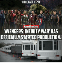 Hype, Memes, and Infiniti: TRUE FACT #1231  Marvel rue Facts  AVENGERS: INFINITY WAR HAS  OFFICIALW STARTEOPRODUCTION @marveltruefacts - HYPED! 🙌🏻 Tag a friend to get them hyped. 👌🏻 Top image is FAN-MADE (credit unknown). Bottom image is from @therussobrothers.