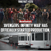Hype, Memes, and Infiniti: TRUE FACT #1231  Marvel rue Facts  AVENGERS: INFINITY WART HAS  OFFICIALW STARTEOPRODUCTION HYPED! 🙌🏻 Tag a friend to get them hyped. 👌🏻 Top image is FAN-MADE (credit unknown). Bottom image is from @therussobrothers.