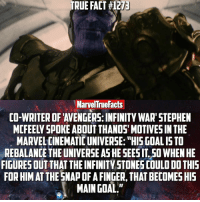 """I'm really excited to see Thanos in action! Makes me wish it was 2018 already. 😩: TRUE FACT #1273  Marvel True Facts  CO-WRITER OF AVENGERS: INFINITY WAR"""" STEPHEN  MARVEL CINEMATIC UNIVERSE: """"HIS GOALISTO  REBALANCE THE UNIVERSE ASHE SEESITSO WHEN HE  FIGURESOUT THATTHE INFINITY STONES COULD DO THIS  FORHIMAT THE SNAPOFAFINGER, THAT BECOMESHIS  MAIN GOAL."""" I'm really excited to see Thanos in action! Makes me wish it was 2018 already. 😩"""