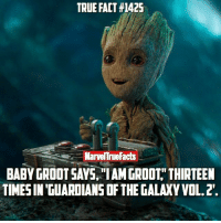 """Comment """"I Am Groot"""" if you loved Baby Groot! ❤: TRUE FACT #142S  MarvelTrueFacts  BABY GROOTSAYS IAMGROOT THIRTEEN  TIMESIN GUARDIANS OF THEGALAXYVOL.2. Comment """"I Am Groot"""" if you loved Baby Groot! ❤"""