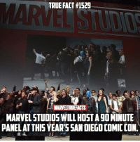 Who's excited!? I'm hoping we get an Infinity War teaser trailer!: TRUE FACT #1529  MARVELTRUEFACTS  MARVEL STUDIOS WILL HOST A 9O MINUTE  PANEL ATTHIS YEAR'SSAN DIEGO COMIC CON. Who's excited!? I'm hoping we get an Infinity War teaser trailer!