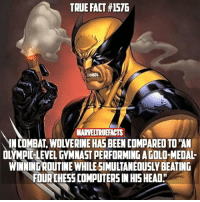 "That's a pretty insane comparison. 😳 Comment your favorite moment from Logan! 👏🏻 --- Artwork by Guile: TRUE FACT #1576  MARVELTRUFACTS  IN COMBAT, WOLVERINE HAS BEEN COMPARED TO ""AN  OLYMPIC-LEVEL GYMNAST PERFORMING A GOLD-MEDAL-  WINNING ROUTINE WHILE SIMULTANEOUSLY BEATING  FOUR CHESS COMPUTERS IN HIS HEAD"" That's a pretty insane comparison. 😳 Comment your favorite moment from Logan! 👏🏻 --- Artwork by Guile"