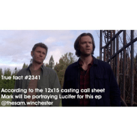 Gif, Memes, and Lucifer: True fact #2341  According to the 12x15 casting call sheet  Mark will be portraying Lucifer for this ep  @thesam. Winchester ➖➖➖➖➖➖➖➖➖➖➖➖➖➖➖➖➖➖➖ supernaturalfacts supernaturaltumblr supernatural spn spnfacts dean thecw sam supernaturalfamily Castiel spn11 spnfunny jensenackles supernaturalfunny gifs samwinchester jaredpadalecki squirrel alwayskeepfighting deanwinchester spnfamily winchester cas mishacollins stiles supernaturalseason12 youareenough teenwolf loveyourselffirst