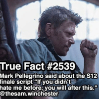 "wonder what's going to happen🤔🤔🤔🤔🤔: True Fact #2539  Mark Pellegrino said about the S12  finale script If you didn't  hate me before, you will after this.""  @thesam winchester wonder what's going to happen🤔🤔🤔🤔🤔"